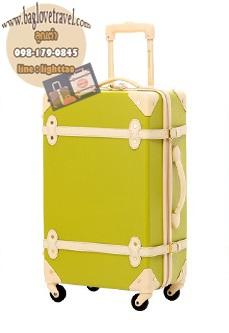 กระเป๋าเดินทางวินเทจ รุ่น colorful เขียวมะนาวคาดชมพูอ่อน ขนาด 24 นิ้ว