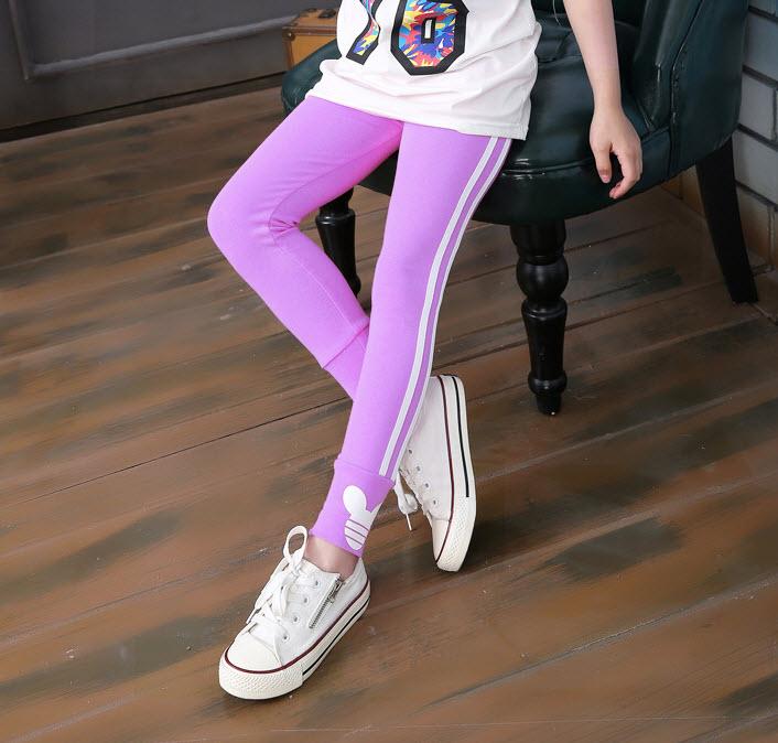 **กางเกงเล็คกิ้งขายาวลายตรง | ม่วง | 100-140 CM | 5ตัว/แพ๊ค | เฉลี่ย 99/ตัว