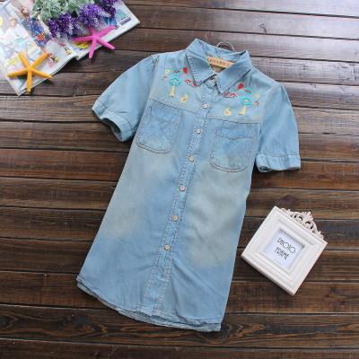 SW5803002 เสื้อยีนส์สาวเกาหลี ปกเชิ้ต แขนตุ๊กตาสั้น แต่งลายปะหวาน (พร้อมส่ง)