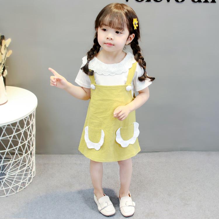 **เอี๊ยมกระโปรงกระเป๋าหน้าสีเหลืองฟักทองเสื้อสีขาวแยกชิ้นตามรูป size= 6-8-10-12 (4pcs/pack) | 4ตัว/แพ๊ค | เฉลี่ย 205/ตัว