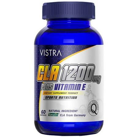 Vistra CLA 1200 mg Plus Vitamin E Sport Nutrition บรรจุ 60 แคปซูล [ขวดน้ำเงิน] เสริมสร้างมวลกล้ามเนื้อให้แข็งแรง ลดปัญหาของการมีรูปร่างที่ไม่กระชับ