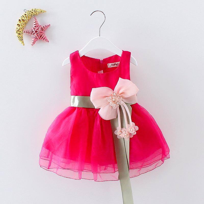 **เดรสผ้าชีฟองสีชมพูเข้มคาดเอวโบว์สีเขียว size= 6-8-10-12| 4ชุด/แพ๊ค | เฉลี่ย 175/ชุด