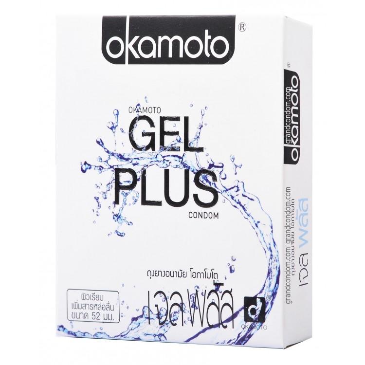 ถุงยางอนามัย OKAMOTO GEL PLUS (เจลเยอะ น้ำเยอะ) ฉ่ำมากกกก เพิ่มสารหล่อลื่นเป็นสองเท่า