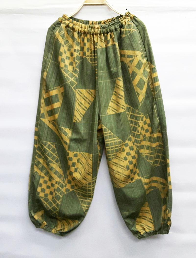 กางเกงขายาวผ้าฝ้ายพิมพ์ลาย