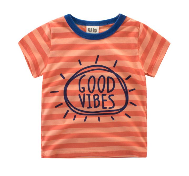 **เสื้อยืดรูป GOOD ลายขวาง | ส้ม | 100-140 | 5ตัว/แพ๊ค | เฉลี่ย 85/ตัว