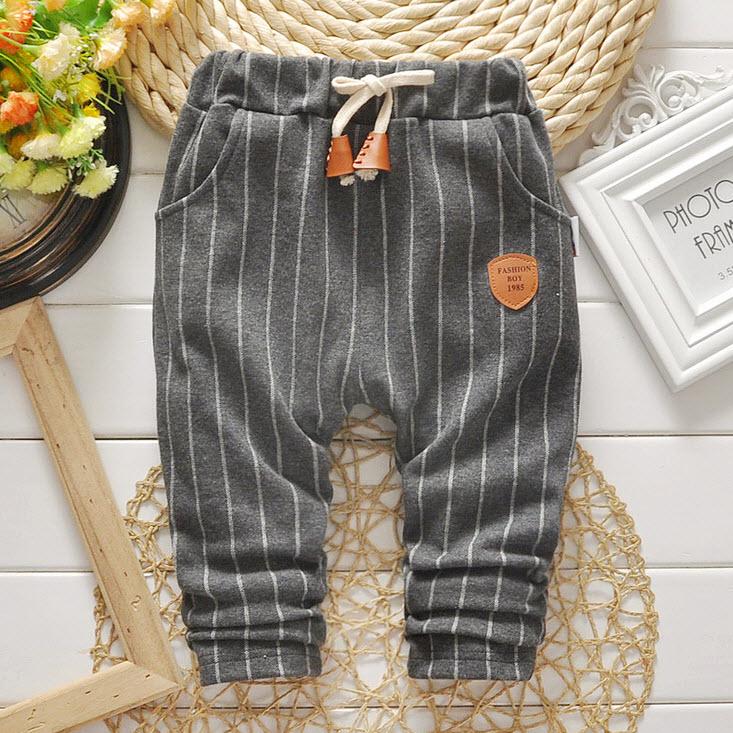 **กางเกงขายาวลายยาว | เทา | 90-120 | 4ตัว/แพ๊ค | เฉลี่ย 135/ตัว