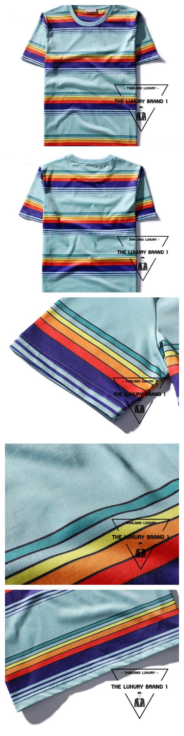 เสื้อยืด Saint Laurent Striped Crew Neck T Shirt.แฟชั่น GD เสื้อยืดแบบ G-Dragon