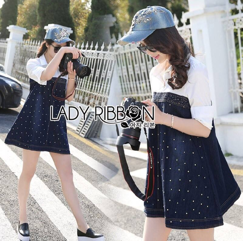 Lady Alisa Smart Chic Embellished Cotton and Denim Shirt Dress L212-75C03