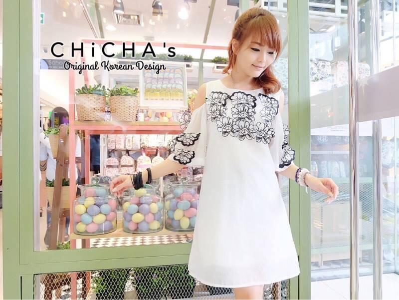 CHANEL White 3d Floral Dress C170-59A04