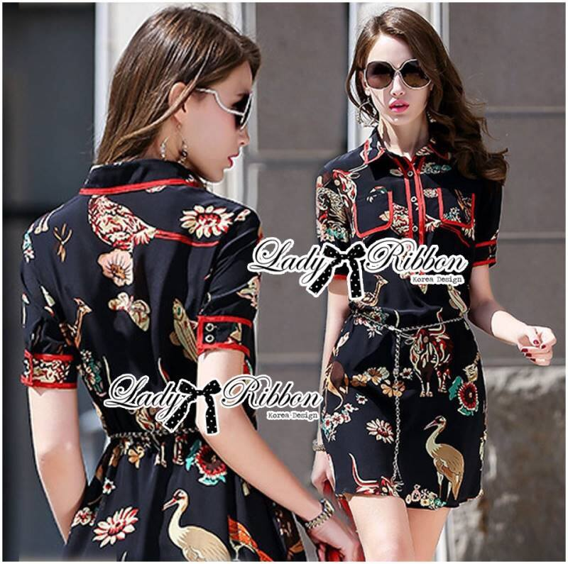 Lady Georgina Fun Animal Printed Shirt Dress L178-75C031