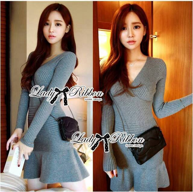 DR-LR-251 Lady Lisa Formal Chic Evening-wear Knit Dress