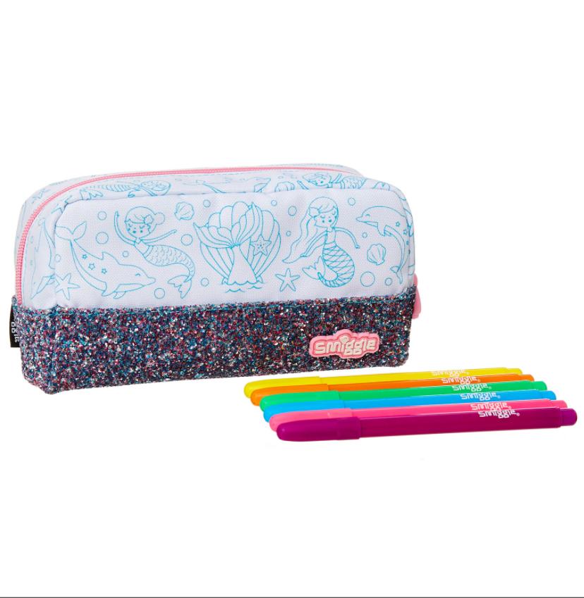 SMP044 (*ไม่มีกล่อง*) กระเป๋าใส่ดินสอ DIY สมิกเกิ้ล 1 ชั้น flashy diy pencil case