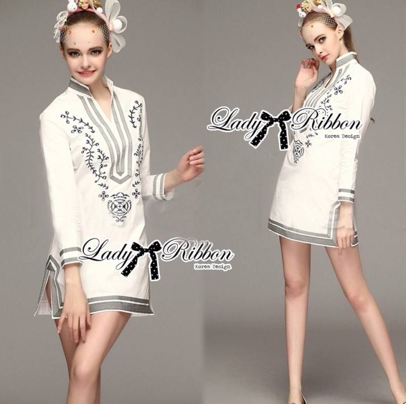Lady Allison Chinoise Embroidered Cotton Shirt Dress L189-75E07