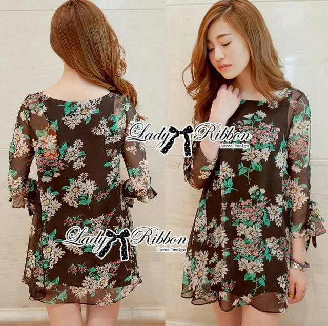 DR-LR-245 Lady Daria Beachy Blossom Print Chiffon Mini Dress