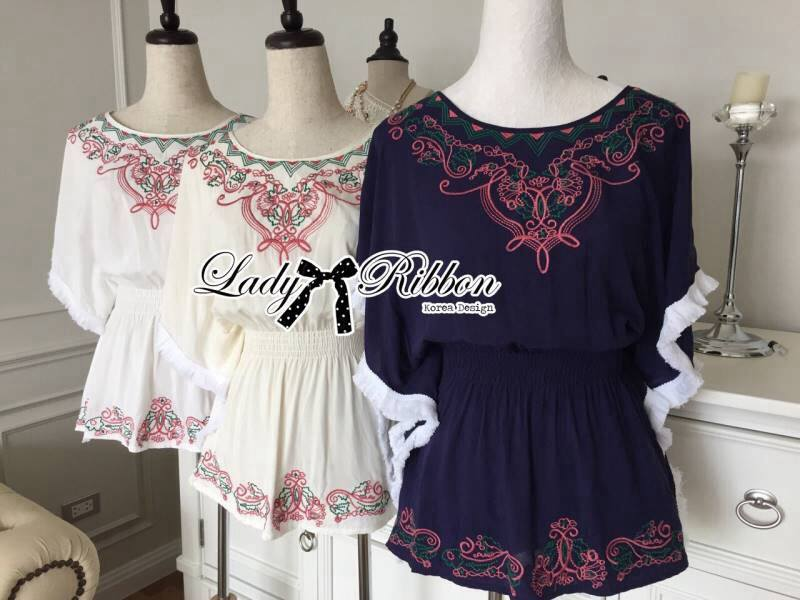 Lady Emily Country Flower Embroidered Kaftan Blouse L150-49A10