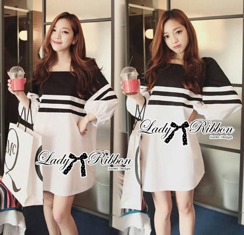DR-LR-054 Lady Pippa Minimal Casual Striped Dress