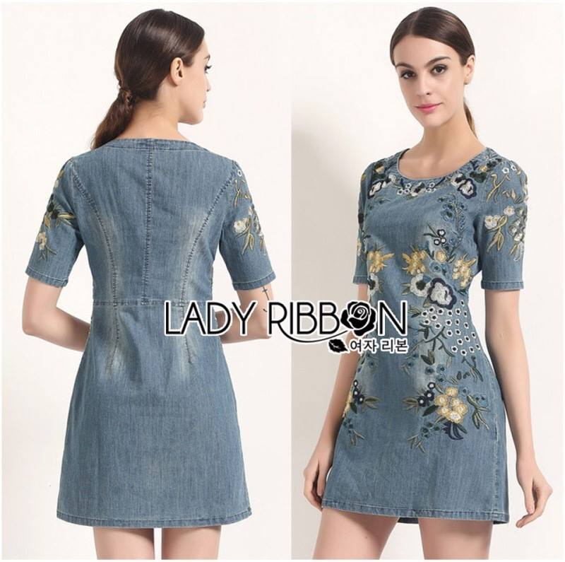 Lady Lila Sweet Feminine Floral Embroidered Denim Dress L200-85C03
