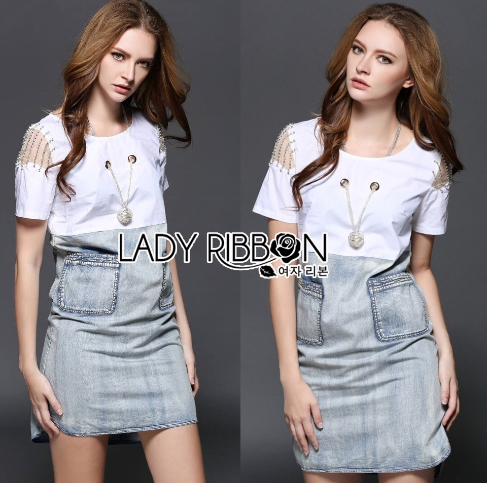 Lady Liz Smart Modern Embellished Cotton and Denim Dress L203-79C08