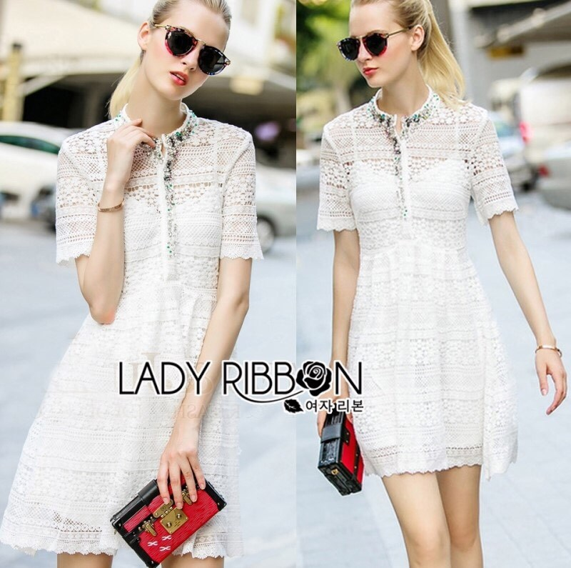 Lady Gabby Pretty Crystal Embellished Lace Shirt Dress L206-99C11