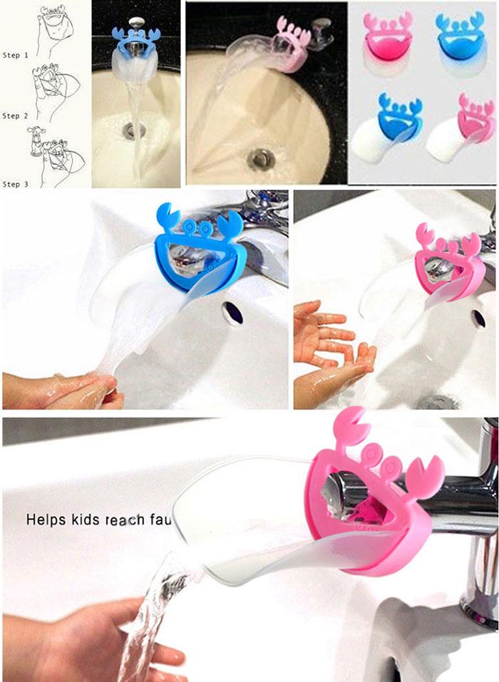 หัวต่อก๊อกน้ำอ่างล้างมือรูปปูน้อย ช่วยให้เด็กเล็กใช้อ่างล้างมือได้สะดวก ไม่ต้องเอื้อม