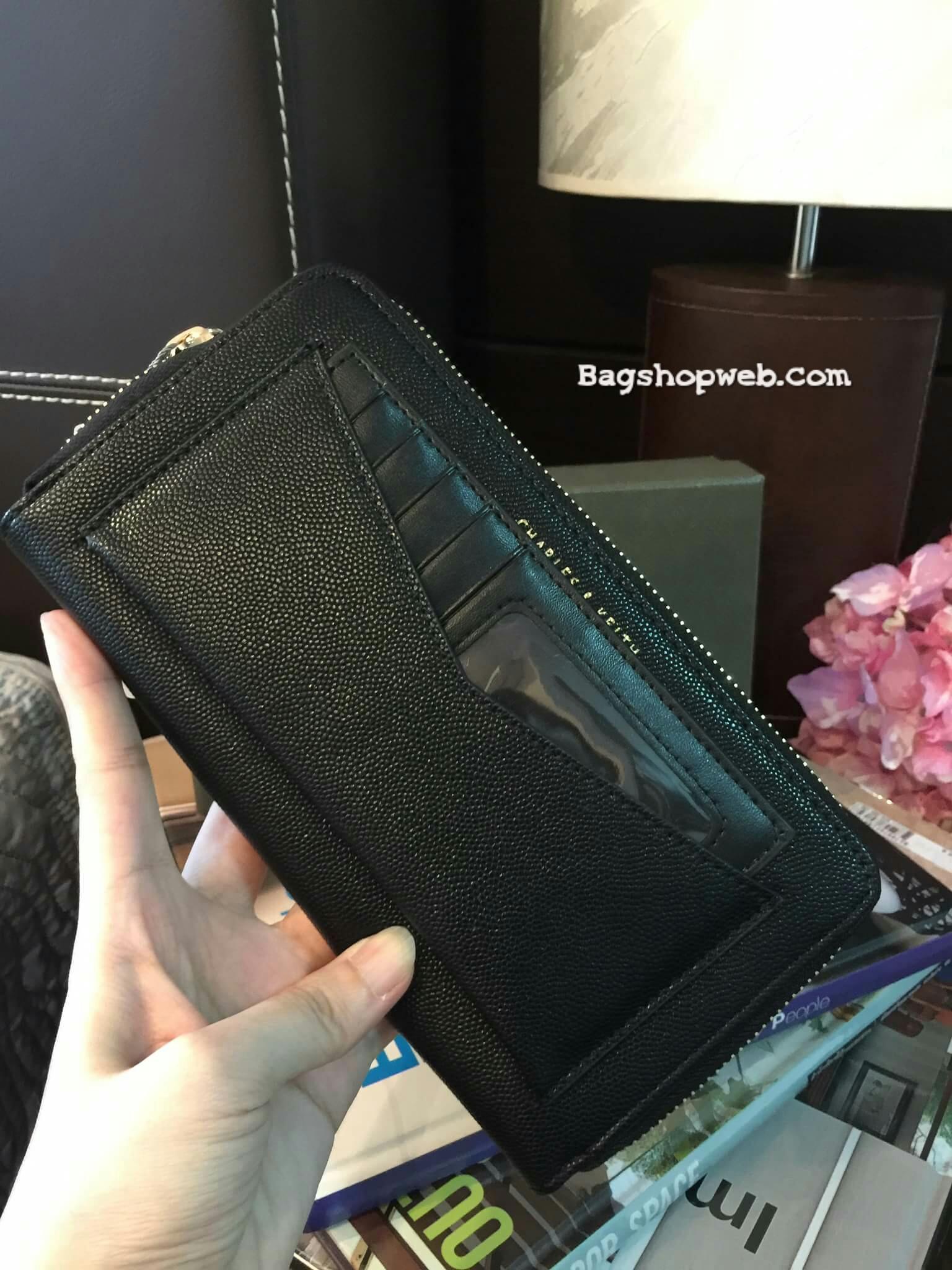 กระเป๋าสตางค์ใบยาว กระเป๋าเงิน CHARLES & KEITH LONG ZIP WALLET CK6-10770220 ซิปรอบ ใบยาว รุ่นใหม่ 2017 ชนชอป สิงคโปร์ - สีดำ