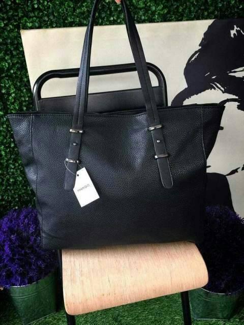 กระเป๋าถือ/สะพาย Mango Pebbled Shopper Bag กระเป๋าหนังสวยมากค่ะ