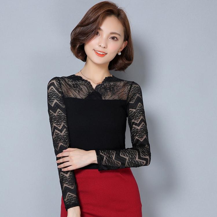 เสื้อทำงานสีดำ แขนยาวลูกไม้ แนวเรียบๆ สวยดูดี