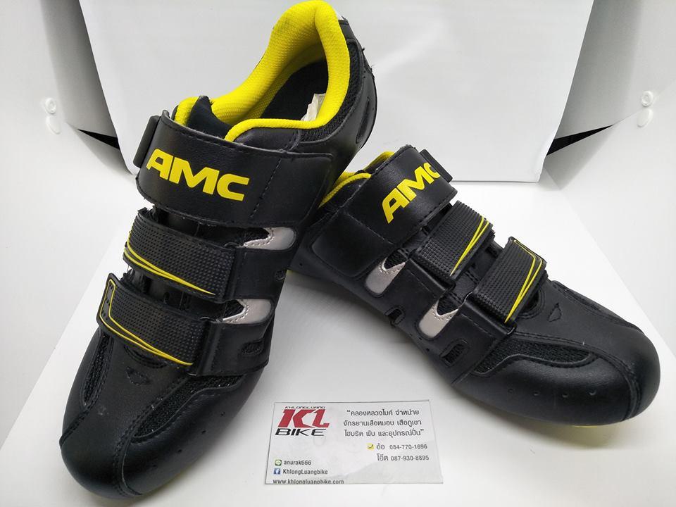 โปรโมชั่นใหม่ รองเท้าคลีต AMC สีดำเหลือง พื้นไนล่อน ไซส์ 40-45 รองรับคลีตหมอบและภูเขา