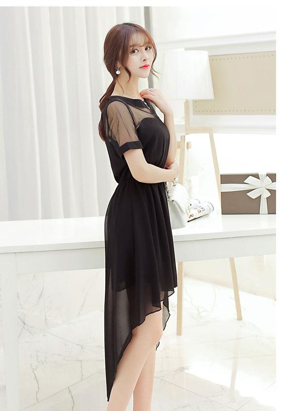 ชุดเดรสยาวสีดำ ดีไซส์สวยเก๋หน้าสั้น หลังยาว ผ้าชีฟอง แขนสั้น เอวยืด แนวแฟชั่นเกาหลี