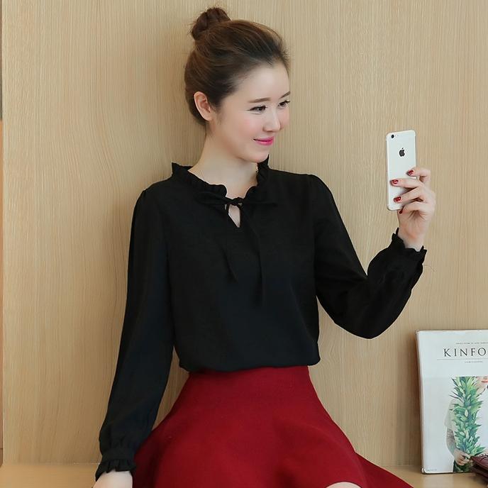 เสื้อแฟชั่นสีดำ ผ้าชีฟอง แขนยาว คอจีบ น่ารัก