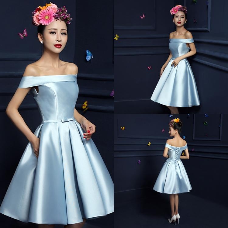 ชุดเดรสออกงาน ชุดไปงานแต่งงานสีฟ้า เปิดไหล่ ผ้าไหมอิตาลี สวยหวาน ราคาถูก