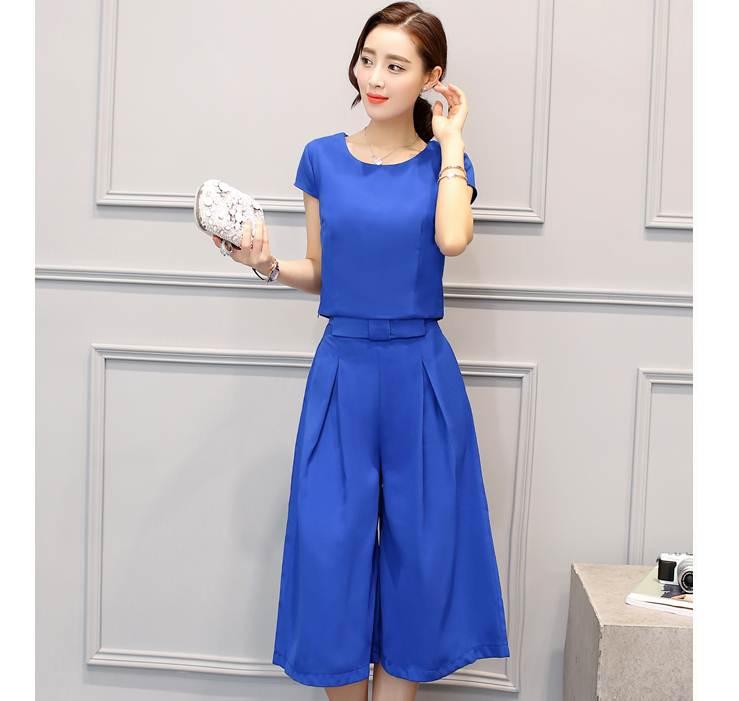 ชุดเซ็ท 2 ชิ้นเข้าชุดสีน้ำเงินสวยๆ เสื้อแขนสั้น น่ารัก