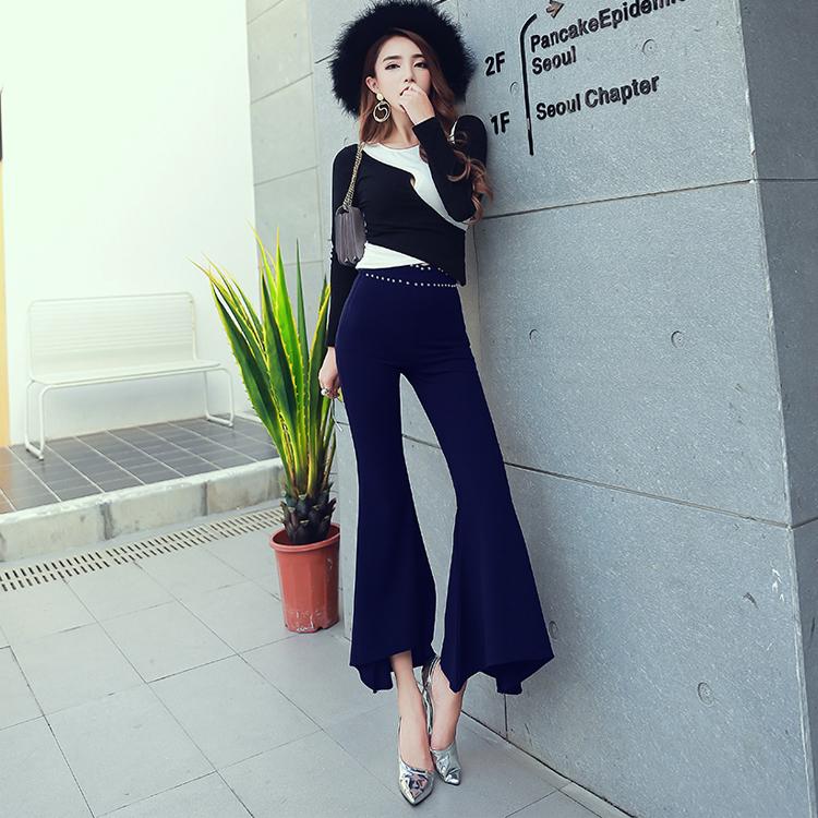 กางเกงขาม้าผู้หญิงสีดำ เอวสูง เอวแต่งหมุด น่ารัก