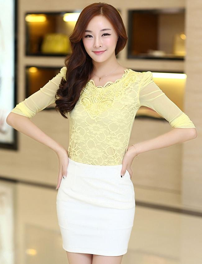 เสื้อทำงานสีเหลือง ผ้าลูกไม้ คอกลม แขนยาวเสื้อผ้าซีทรู