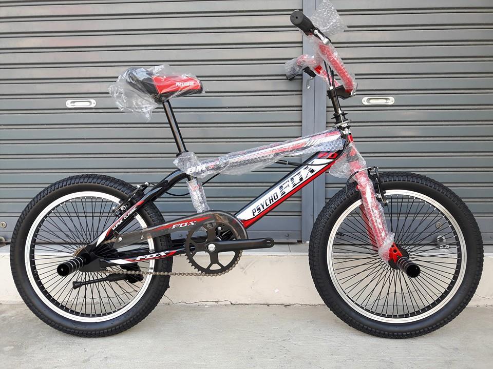 จักรยาน BMX PSYCO FOX ล้อขนาด 20 นิ้ว คอแบบโรเตอร์หมุนได้ 360 องศา สำหรับเล่นท่าทาง มีสีดำแดง ดำน้ำเงิน