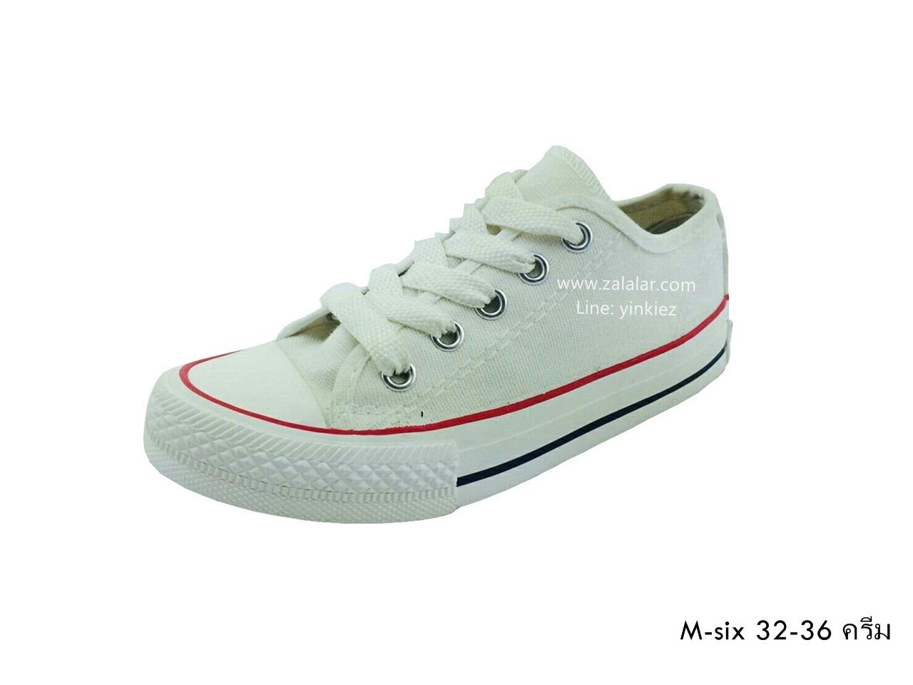 [พร้อมส่ง] รองเท้าผ้าใบเด็กแฟชั่น รุ่น M-six สีครีม
