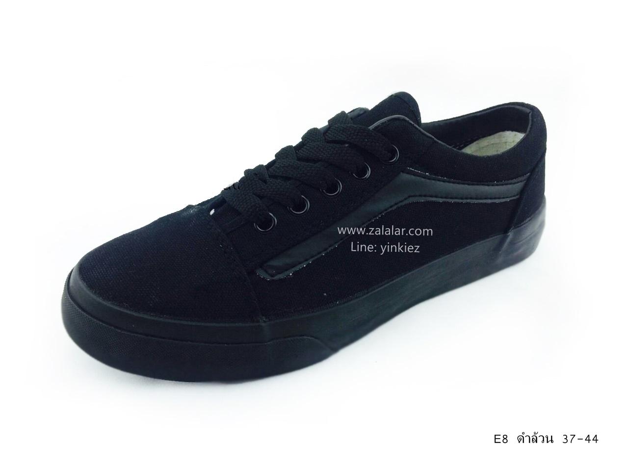 [พร้อมส่ง] รองเท้าผ้าใบแฟชั่น รุ่น E-8 สีดำล้วน