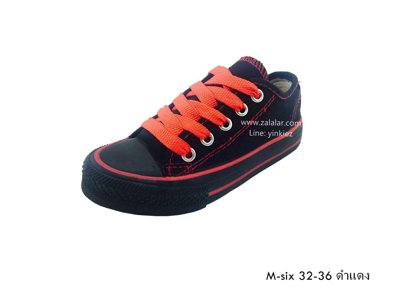 [พร้อมส่ง] รองเท้าผ้าใบเด็กแฟชั่น รุ่น M-six สีดำแดง