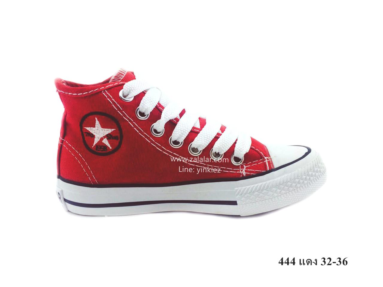 [พร้อมส่ง] รองเท้าผ้าใบเด็กแฟชั่น รุ่น 444 สีแดง (หุ้มข้อ)