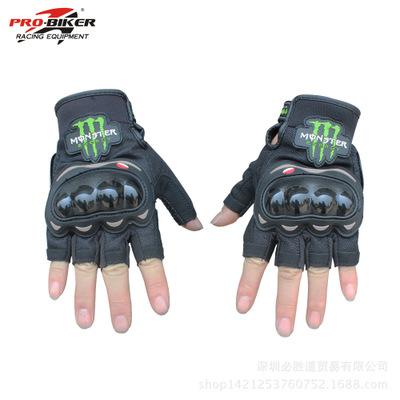 ถุงมือขี่มอเตอร์ไซค์ครึ่งนิ้ว Pro-Biker-Monster สีดำ