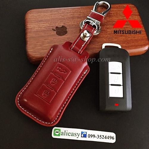 ซองหนังแท้ ใส่กุญแจรีโมทรถยนต์ หนัง Hi-end Mitsubishi Mirage,Attrage,Triton,Pajero รุ่น 2,3 ปุ่ม สีแดง