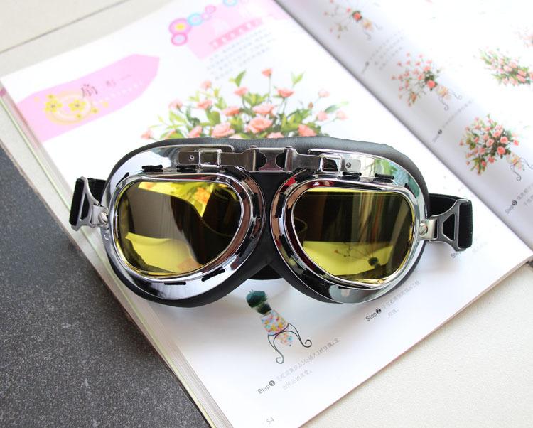 แว่นตาขี่มอเตอร์ไซค์ วินเทจ สีชา