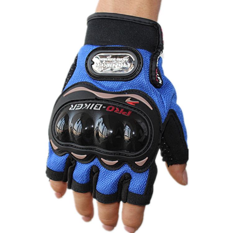 ถุงมือขี่มอเตอร์ไซค์ครึ่งนิ้ว Pro-Biker-สีน้ำเงิน