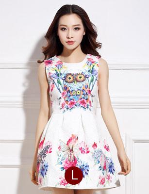 ชุดเดรสสั้นสีขาวลายดอกไม้สีสันสดใส แขนกุด เอวเข้ารูป สวยหวานสไตล์เกาหลี ไซส์ L