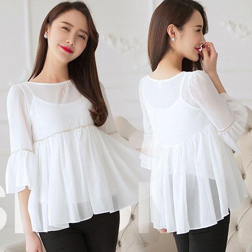 เสื้้อแฟชั่นสีขาว ผ้าชีฟอง จับจีบระบายสวยเก๋ ลุคสวยๆ น่ารัก