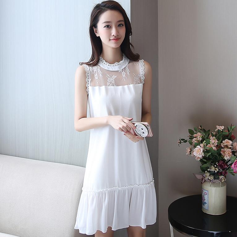 ชุดเดรสสั้นสีขาว แขนกุด ทรงปล่อย สวยน่ารัก แฟชั่นสไตล์เกาหลี