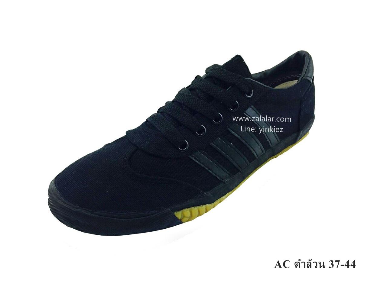 [พร้อมส่ง] รองเท้าผ้าใบแฟชั่น รุ่น AC สีดำล้วน