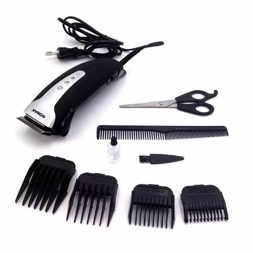 [SONAR V.3] แบตเตอเลี่ยนตัดผมชายสีดำ ปัตตาเลี่ยนมีสาย แบตตาเลี่ยนตัดผมเด็ก ชุดแบตเตอเลี่ยนตัดผมเด็กและผู้ใหญ่พร้อมหวีรองปัตตาเลี่ยน BLACK Professional Electric Hair Clipper Set For Men & Women