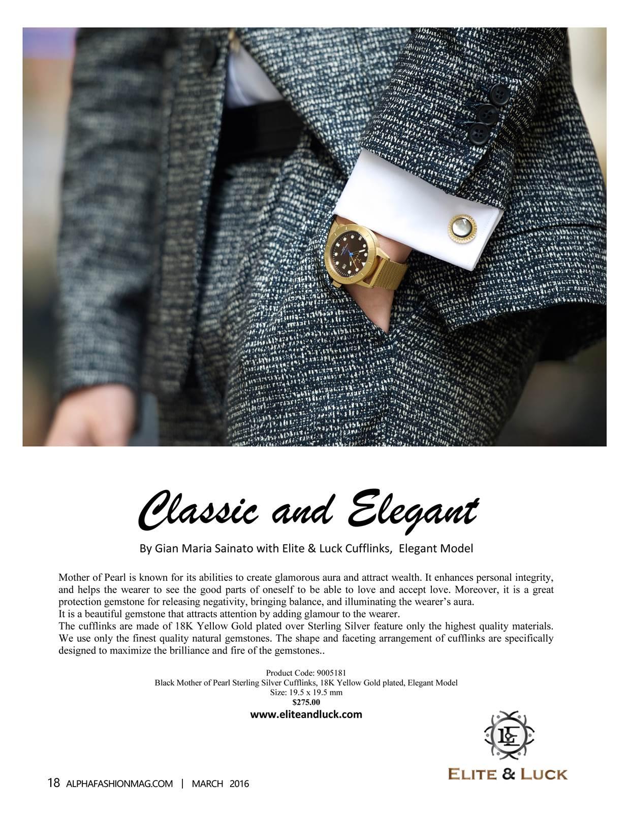 Elite & Luck Cufflinks ในนิตยสาร Alpha Fashion Magazine ที่ New York ฉบับเดือนมีนาคม 2016.