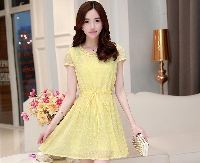 ชุดเดรสสั้นสีเหลือง แนวสวยหวาน น่ารัก ผ้าชีฟอง คอจีบ แขนสั้น เอวแบบสายรูด S M L